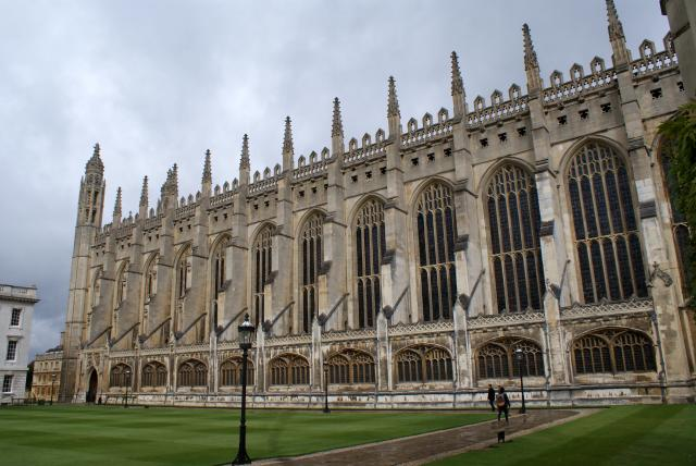 The construction of King's College Chapel in Cambridge was begun in 1446 by Henry VI.  It has the largest 'fan vault' in the world and some of the finest medieval stained glass. The architectural style is Late Gothic or 'Perpendicular'.