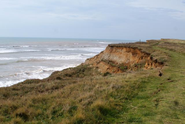 Tidal erosion causing landslip to cliff edges on the Isle of Wight, in this example on the coast south of Brighstone.