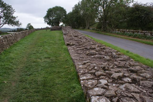 The section of wall at Banks East Turret close to Birdoswald Roman Fort, one of sixteen forts on Hadrian's Wall.