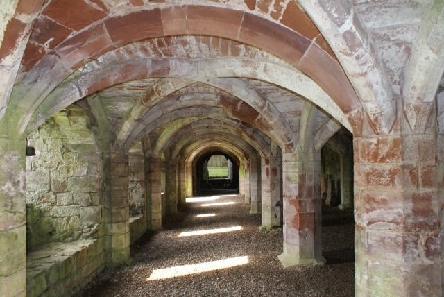 Lanercost Priory stands about 1 mile from Hadrian's Wall and was founded in 1169.  The area of border country continued to have a troubled history with ongoing disputes between England and Scotland. It was dissolved in Henry VIII in 1537. The local church continues in the nave.