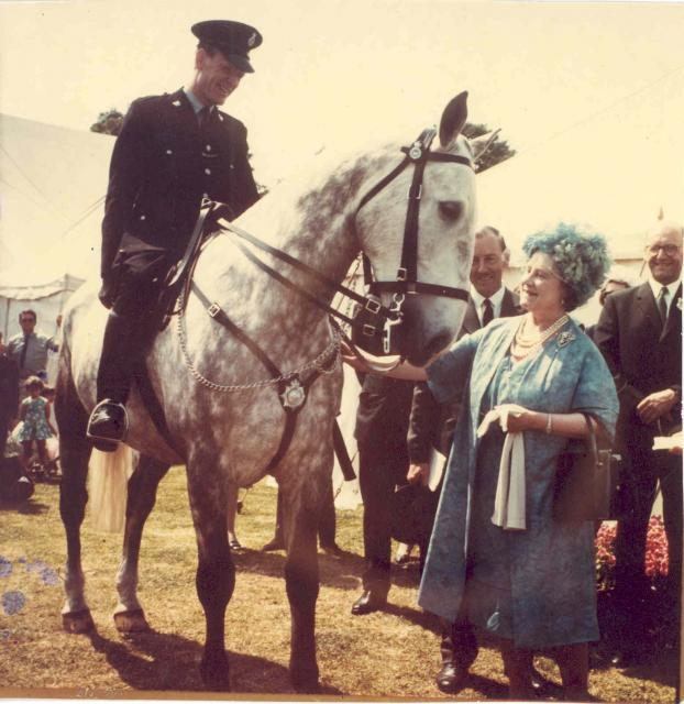 PC Gandy and the Queen Mother, 1967 - In 1967 HRH The Queen Mother visited Southend-on-Sea.  PC Gandy of the Southend on Sea Borough Constabulary, was one of the mounted police officers on duty that day to meet her.
